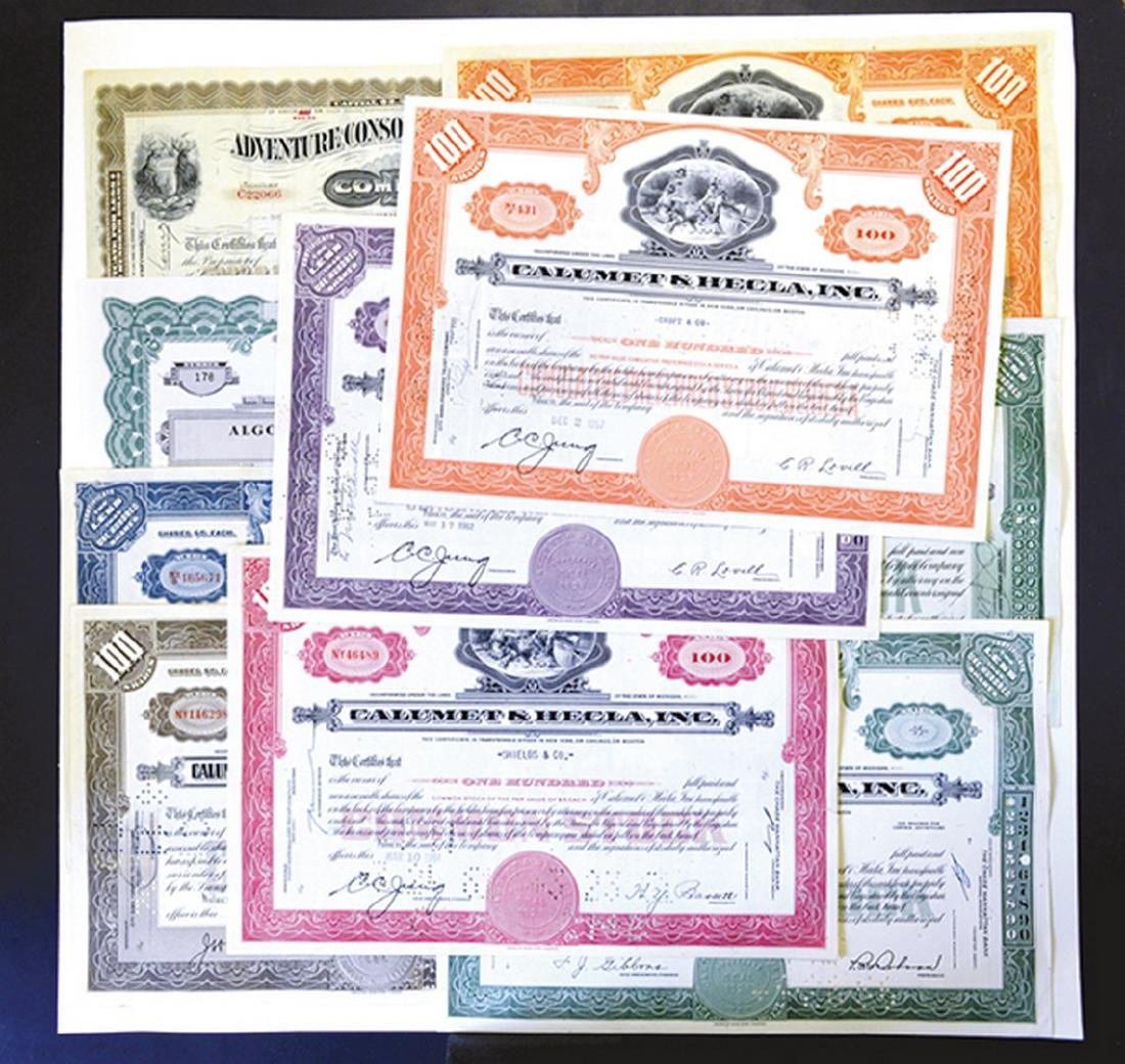 Assortment of Mining Stock Certificates, ca.1916-1960