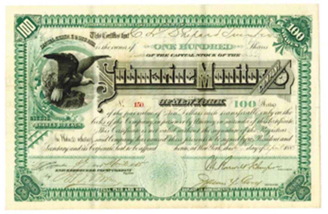 Submarine Monitor Co. of N.Y. 1885 Issued Stock