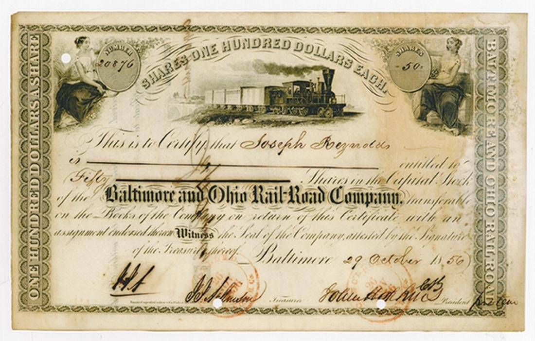 Baltimore & Ohio Rail Road Co., 1856 Cancelled Stock