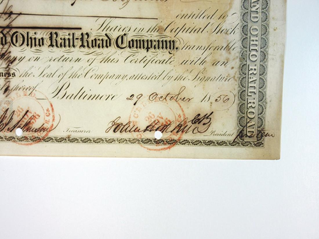 Baltimore & Ohio Rail Road Co., 1856 Cancelled Stock - 2