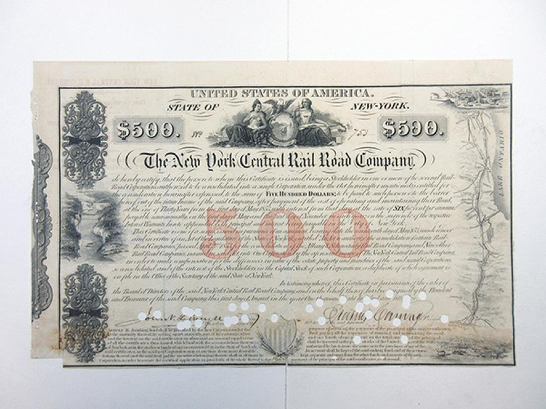 New York Central Rail Road Co., 1853 I/C Bond signed by