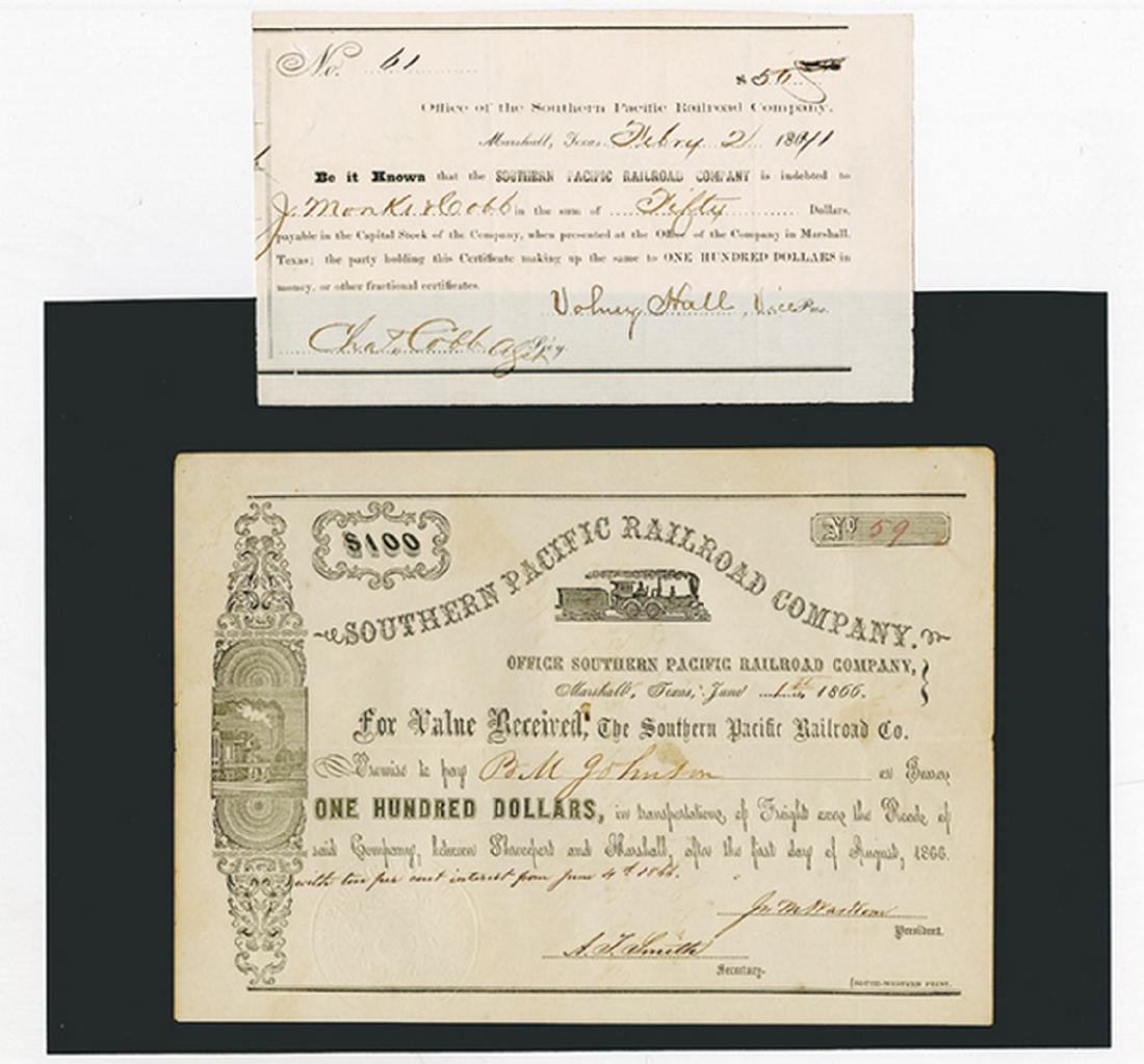 Southern Pacific Railroad Co., Pair of Certificate ca.