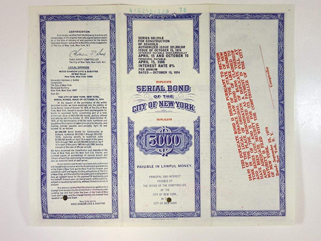 City of New York, 1974 Specimen Bond - 2