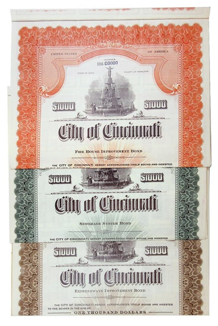 City of Cincinnati Trio of Specimen Bonds, 1949-1951