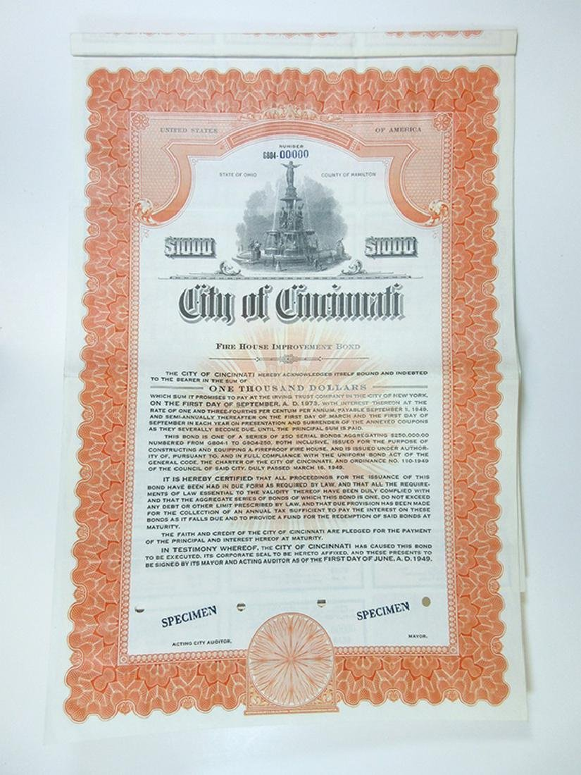 City of Cincinnati Trio of Specimen Bonds, 1949-1951 - 2