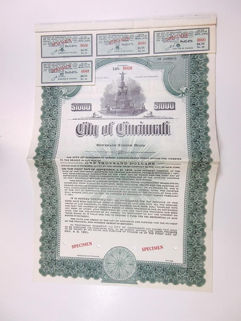 City of Cincinnati Trio of Specimen Bonds, 1949-1951 - 4