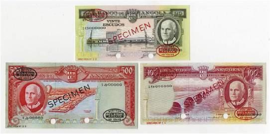 Banco de Angola, 1962, Trio of Specimens.