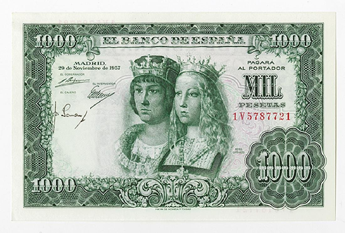 Banco De Espana, 1957 Issued Banknote.