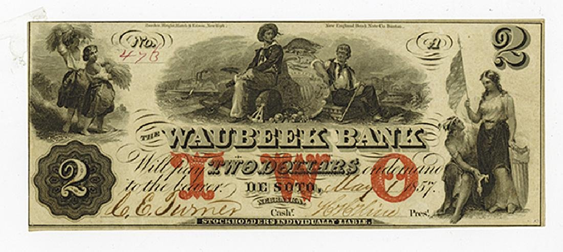 Waubeek Bank, 1857 Issued Obsolete Banknote.