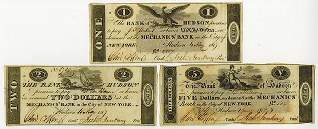 Bank of Hudson 1817 Obsolete Banknote Trio.
