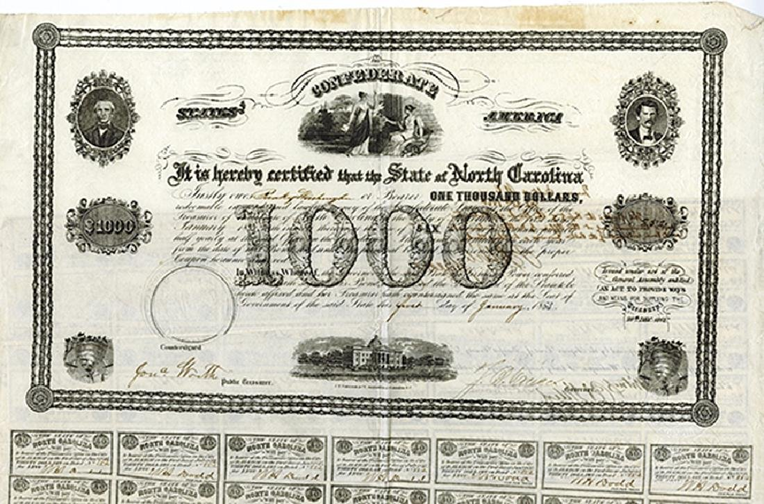 State of North Carolina, 1863 Issued Bond Zebulon Baird
