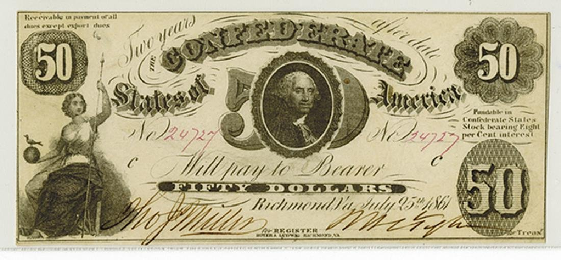 C.S.A. 1861 $50, T-8 Issued Confederate Banknote. - 2