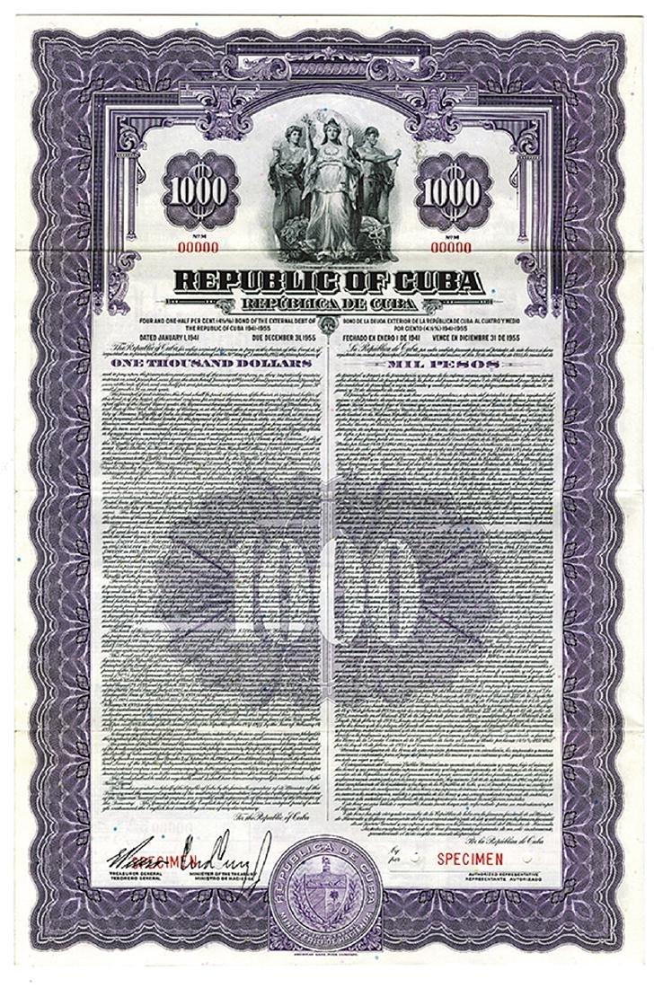Republic of Cuba, 1941 Specimen Bond