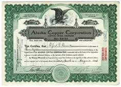 Alaska Copper Corp., 1914 Issued Stock Certificate.