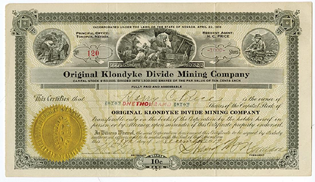 Original Klondyke Divide Mining Co., 1919 Issued Stock