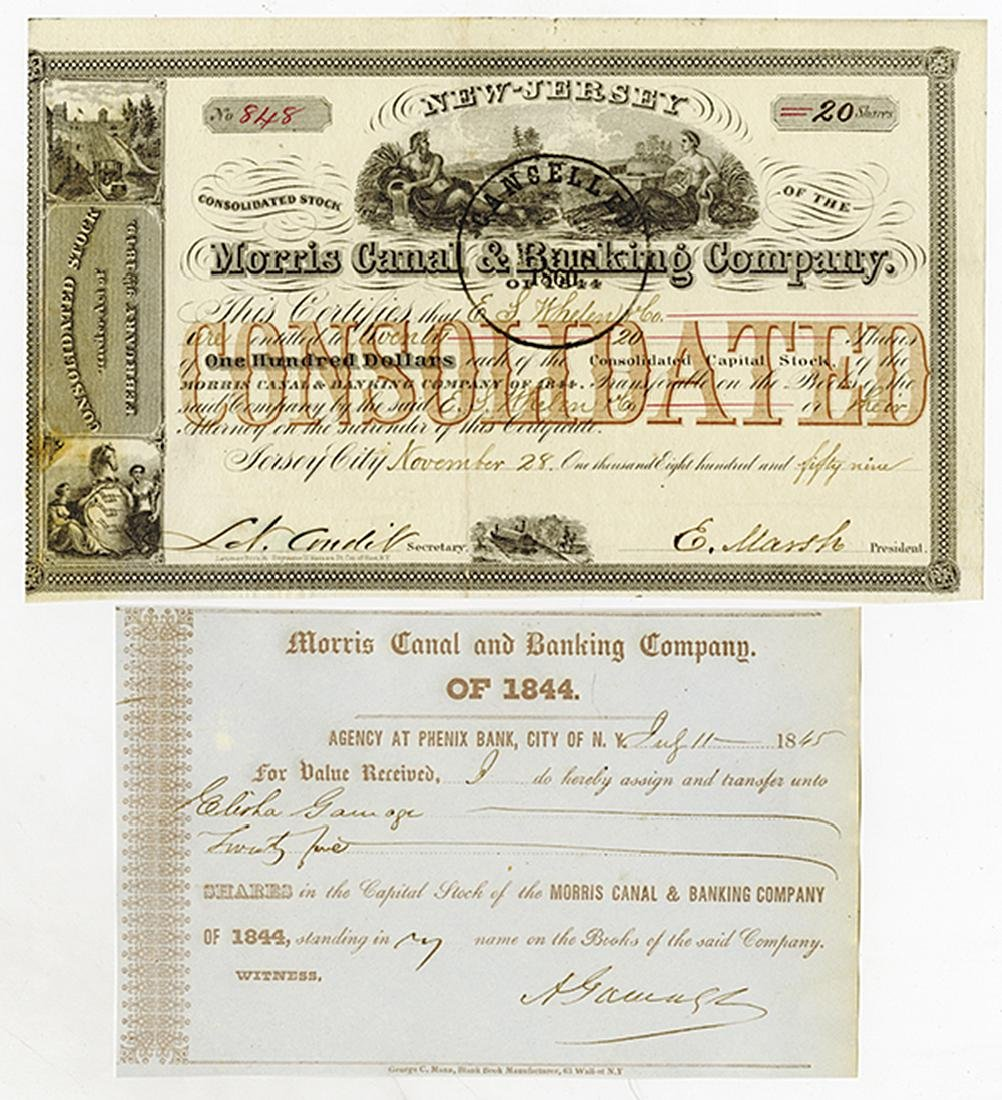 Morris Canal & Banking Co., 1845-1869 Trio of Bonds - 2