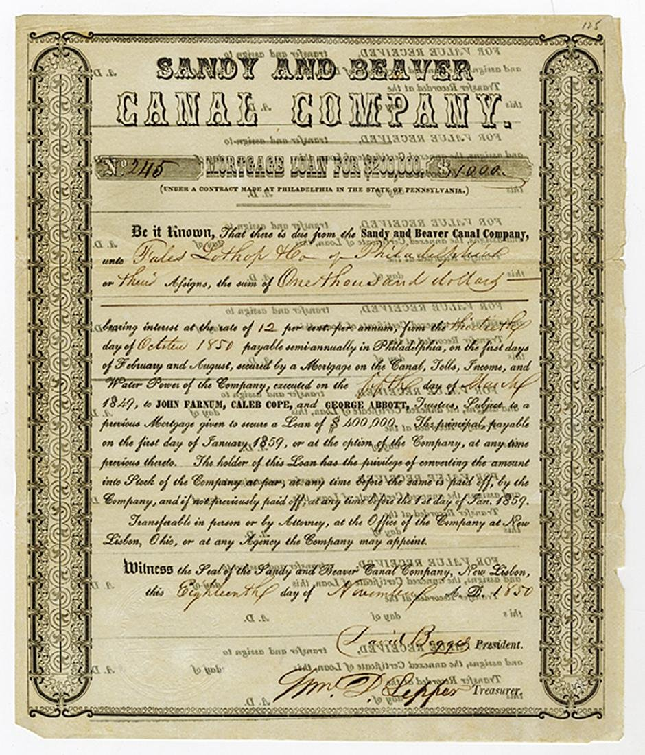 Sandy & Beaver Canal Co., 1850 Issued Bond