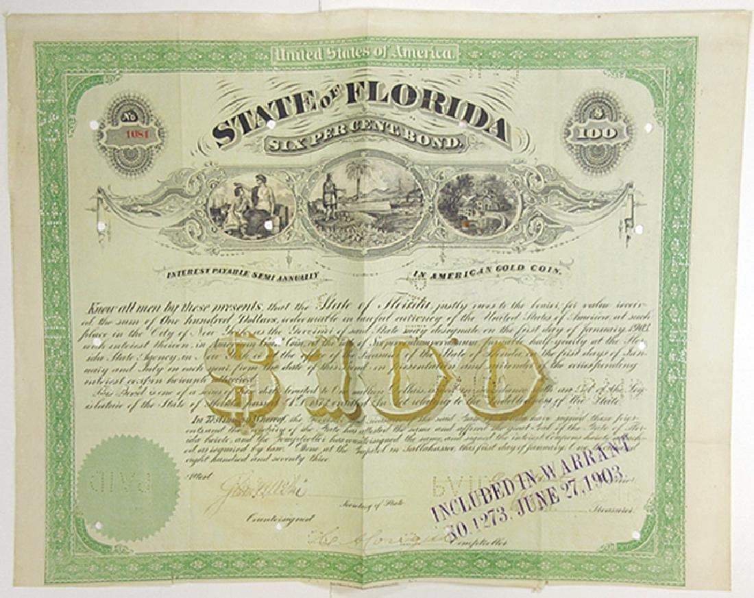 State of Florida, 1873 Cancelled Bond