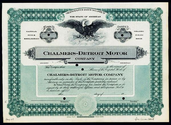 2: Chalmers-Detroit Motor Company Stock Certificate.
