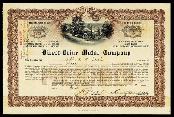 3: Direct-Drive Motor Company Stock Certificate.