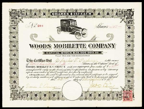 20: Woods Mobilette Company Stock Certificate.