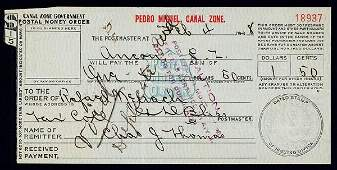 1928: Canal Zone Government Postal Money Order, 1908 Is