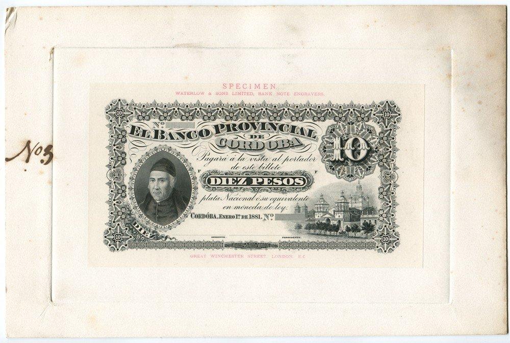 2: Banco Provincial de Cordoba, 1881 Issue Presentation