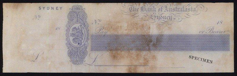 9: Bank of Australasia Specimen Check.