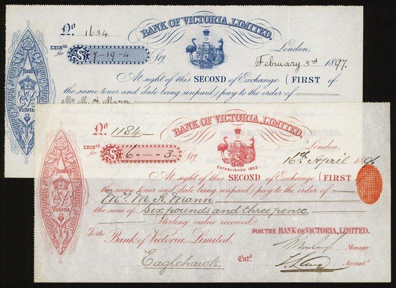 11: Bank of Victoria, 1890's Second of Exchange.