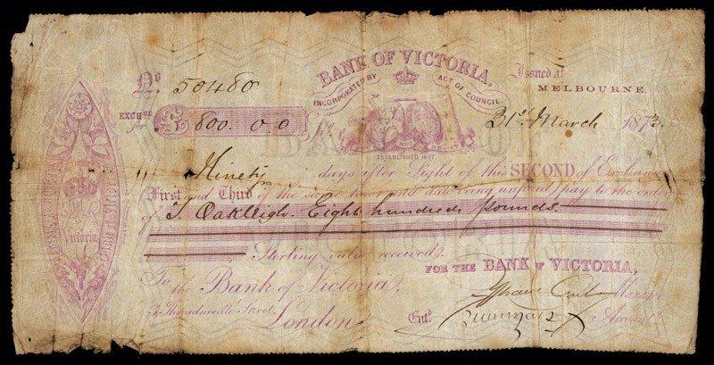 12: Bank of Victoria, Second of Exchange.