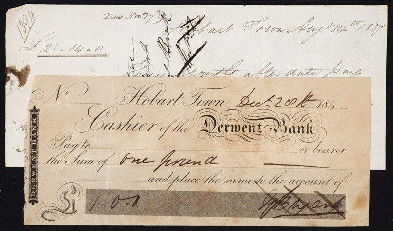 16: Hobart Town, Derwent Bank Check - Scrip Note and Pr