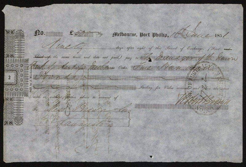 17: Melbourne, Port Phillip, 1851, 2nd of Exchange.