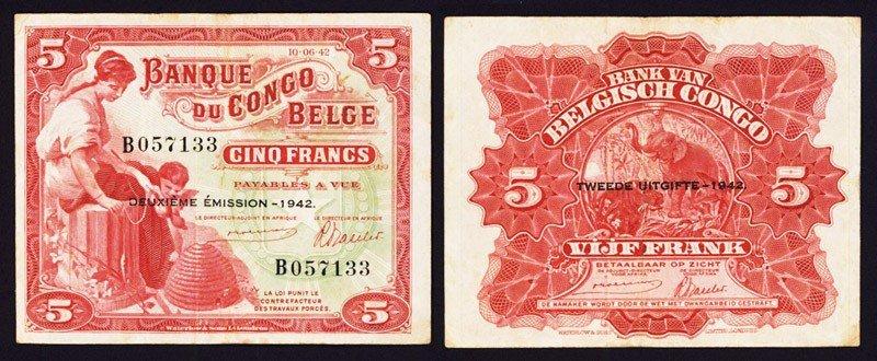24: Banque De Congo Belge, 1942 Issue Banknote.