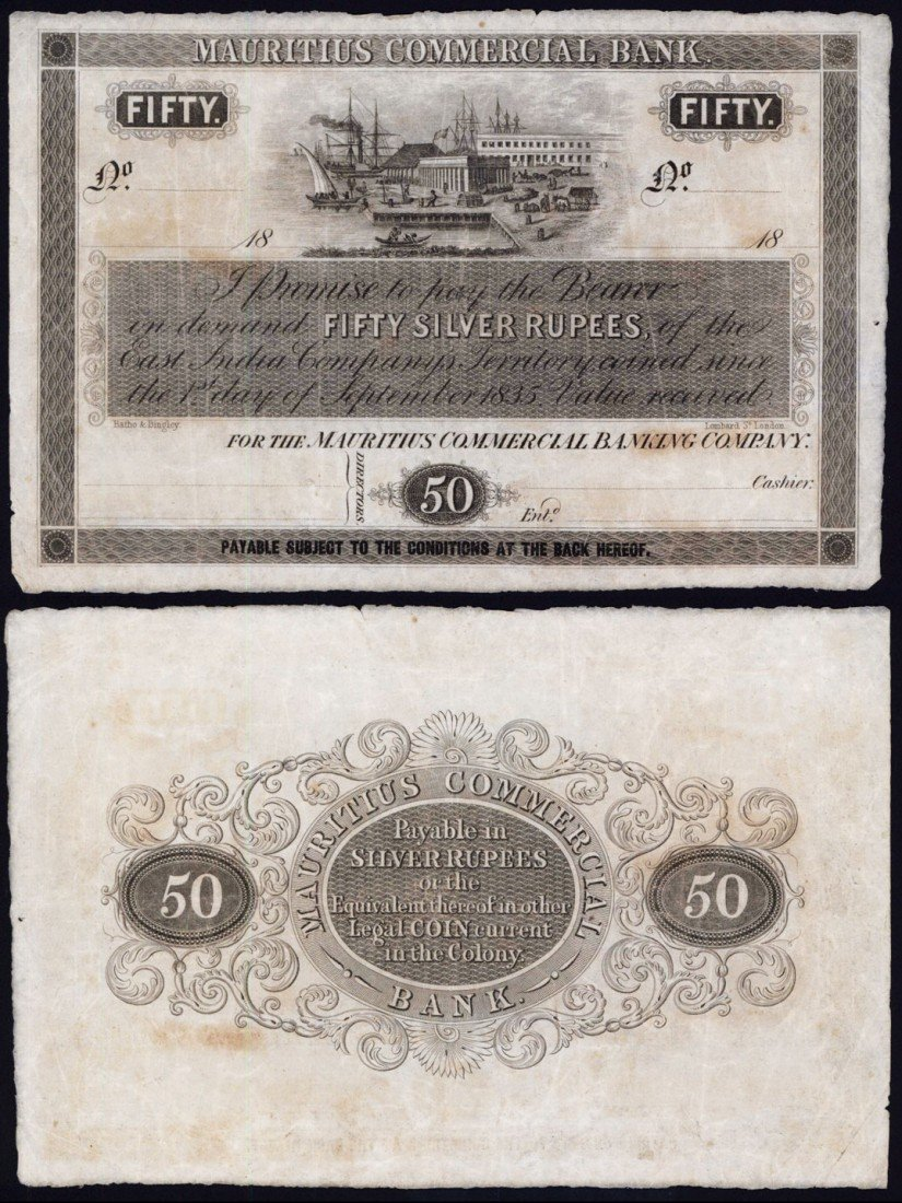 407: Mauritius Commercial Bank, 1835 Issue Banknote.