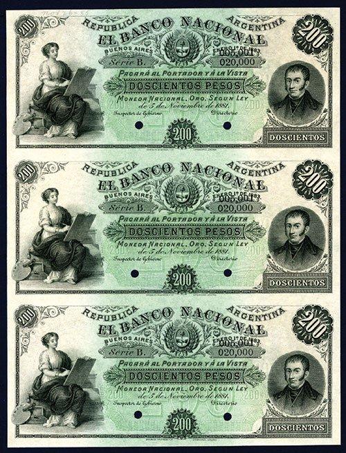 2007: Banco Nacional, 1881 Issue Specimen Uncut Sheet o