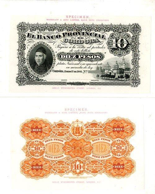 2008: Banco Provincial de Cordoba, 1881 Issue Presentat