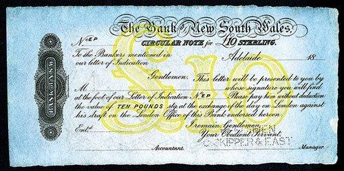 2009: Bank of New South Wales, 1870-90's Circular Note