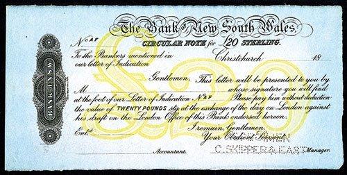 2010: Bank of New South Wales, 1870-90's Circular Note