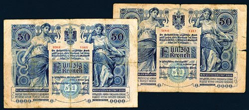 2014: Austro-Hungarian Bank, 1902 Issue Banknote Pair.