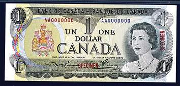 2056: Bank of Canada, 1973 Issue Specimen Banknote.
