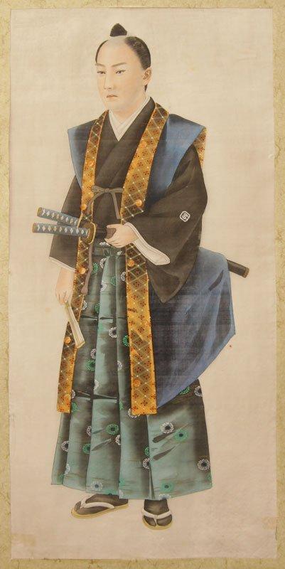 Männliche Figur mit Kimono und Schwert