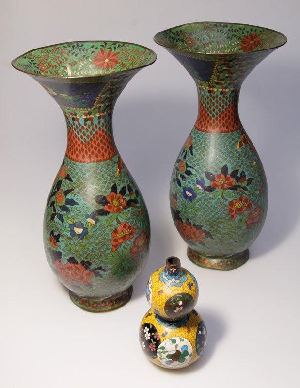 3 Cloisonne Vasen