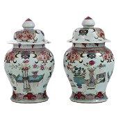 Coppia di grandi potiches in porcellana, Cina, XIX sec.