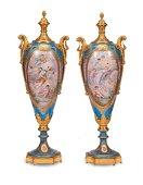 Coppia di grandi vasi in porcellana turchese