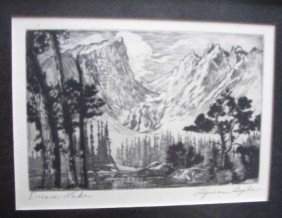 "22: Lymen Byxbe, Pencil Signed Etching, ""Dream Lake"""