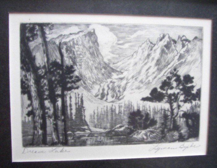 """22: Lymen Byxbe, Pencil Signed Etching, """"Dream Lake"""""""