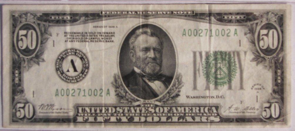 5: $ 50 Bill, Gold Certificate