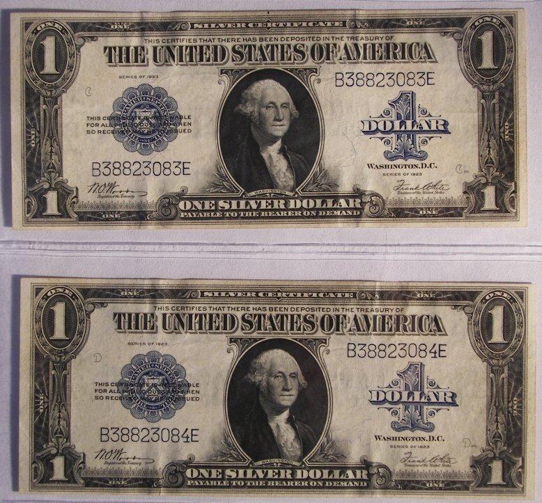 7: $1 Dollar Bills, Set Of Two