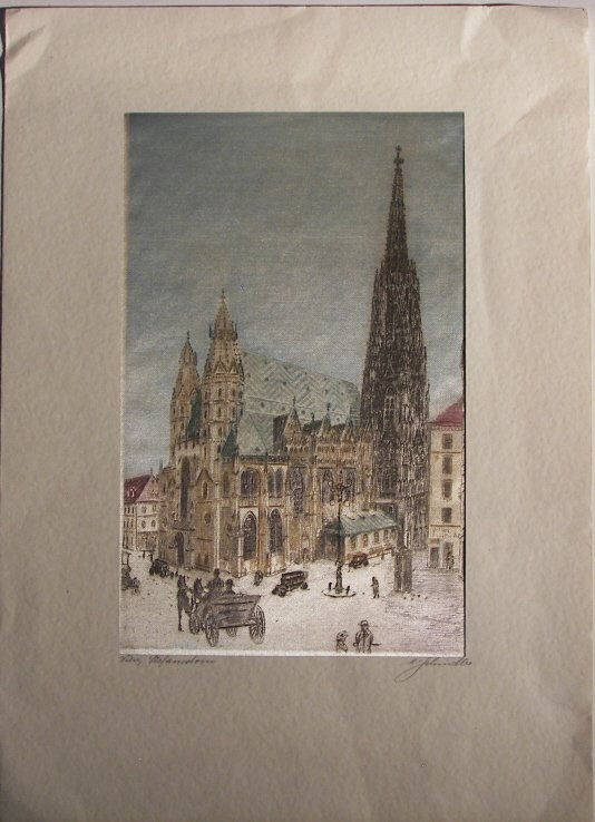 8: 2  Colored Etchings Printed On Silk