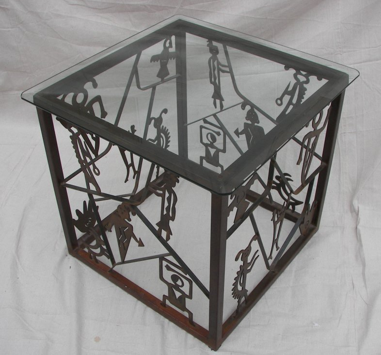 Southwest Style, Steel, Glass Topped End Table
